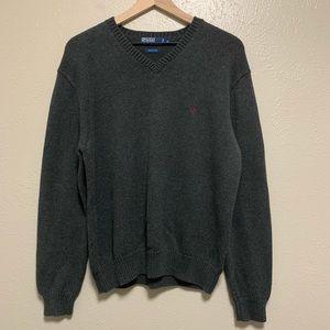 Polo Ralph Lauren gray cotton v neck sweater